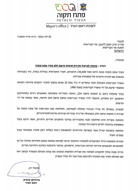 ראש העיר פתח תקווה במכתב לשר הבריאות יעקב ליצמן