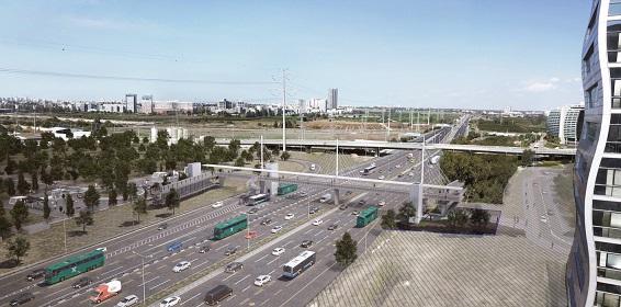 השבוע יחלו העבודות להקמת גשר חדש שיקשר בין תחנת הרכבת הקלה 'אם המושבות' לבין אזור התעשייה קרית אריה