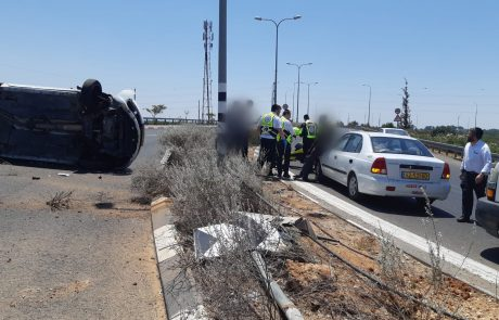תאונה במחלף עמישב: שני פצועים בהתהפכות רכב