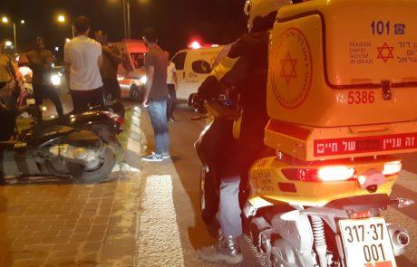 צומת סירקין: רוכבת אופניים חשמליים נפגעה מרוכב אופנוע